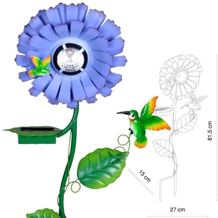 lampe solaire del colibri jardin luminaire bleu vert led fleur floral oiseau achat vente. Black Bedroom Furniture Sets. Home Design Ideas