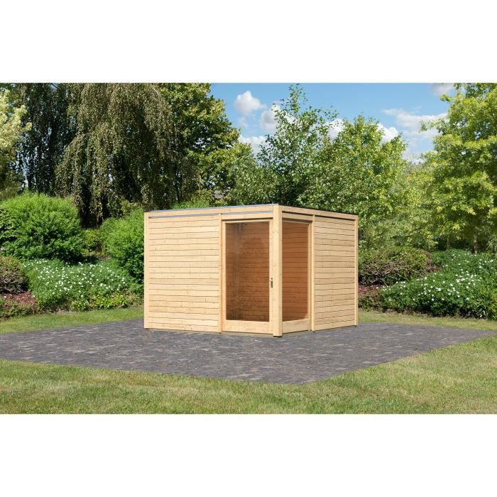 Abri de jardin bois m2 28 mm avec ouverture en coin cubus eck achat vente abri jardin - Abri jardin ouvert bois lyon ...