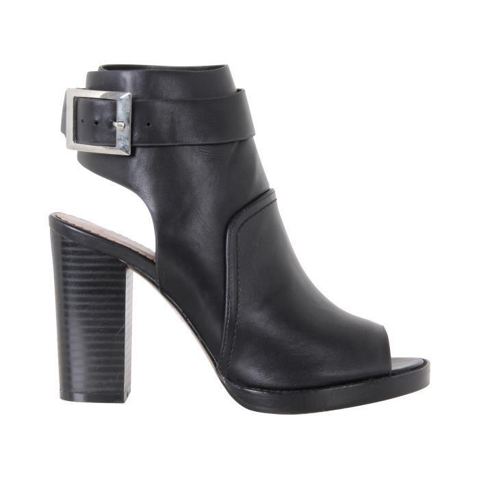 femme chaussure bottines ouverture devant et arri re bout en amande fete soir e noir achat. Black Bedroom Furniture Sets. Home Design Ideas
