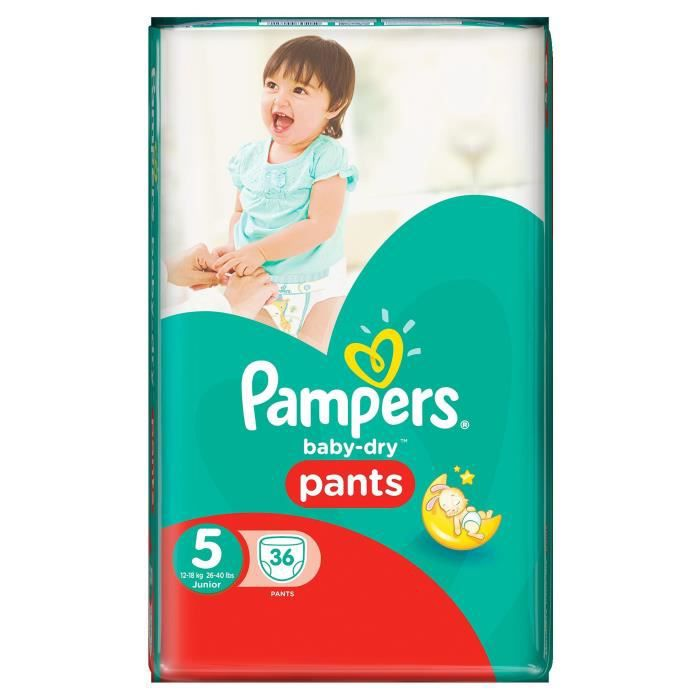 pampers baby dry pants taille 5 12 18kg 36 couches. Black Bedroom Furniture Sets. Home Design Ideas