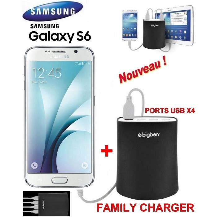 samsung galaxy s6 blanc g920 familly charger achat smartphone pas cher avis et meilleur. Black Bedroom Furniture Sets. Home Design Ideas