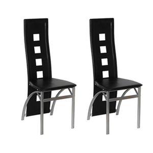 CHAISE Magnifique Chaise design Quattro noir (lot de 2)