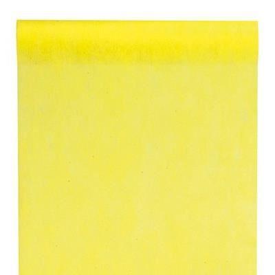 Chemin de table uni jaune achat vente chemin de table for Chemin de table jaune