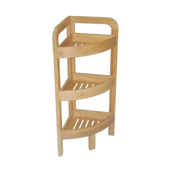 Etagere d 39 angle bambou salle de bain 3 niveaux achat - Etagere d angle pour salle de bain ...