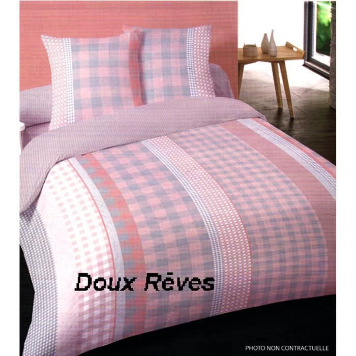 Garniture de lit 2 personnes flanelle 100 coton calista 1 for Drap housse en flanelle