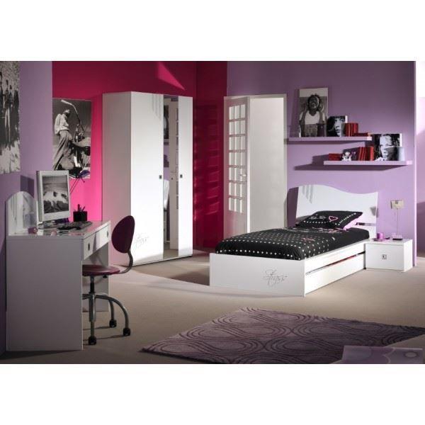 Chambre blanc et aubergine design de maison - Chambre gris et aubergine ...