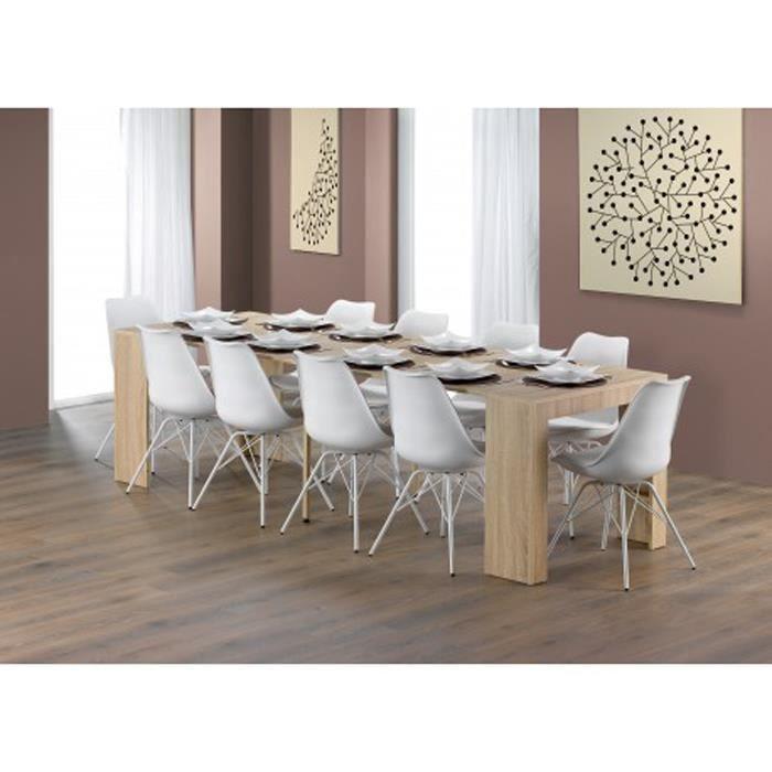 Table de salle manger coloris ch ne en panneau de for Table salle a manger chene