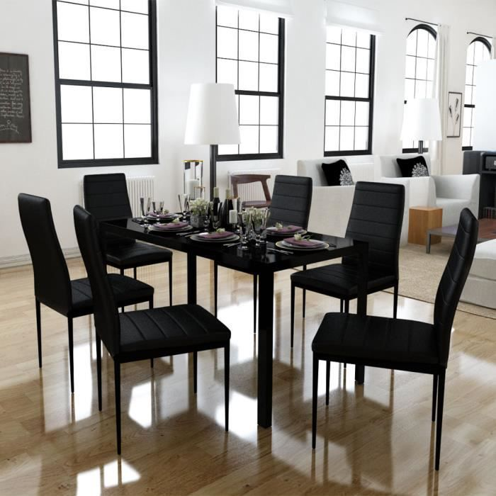 Ensemble de salle manger 6 chaises table noir design for Ensemble de salle a manger