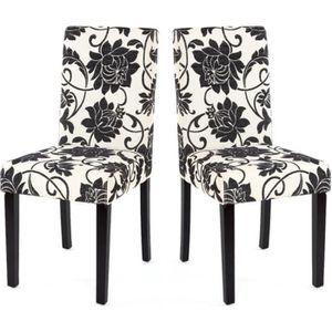 chaise lot de 2 chaises de salle manger en tissu imprim - Salle A Manger Noir Et Blanc Pas Cher