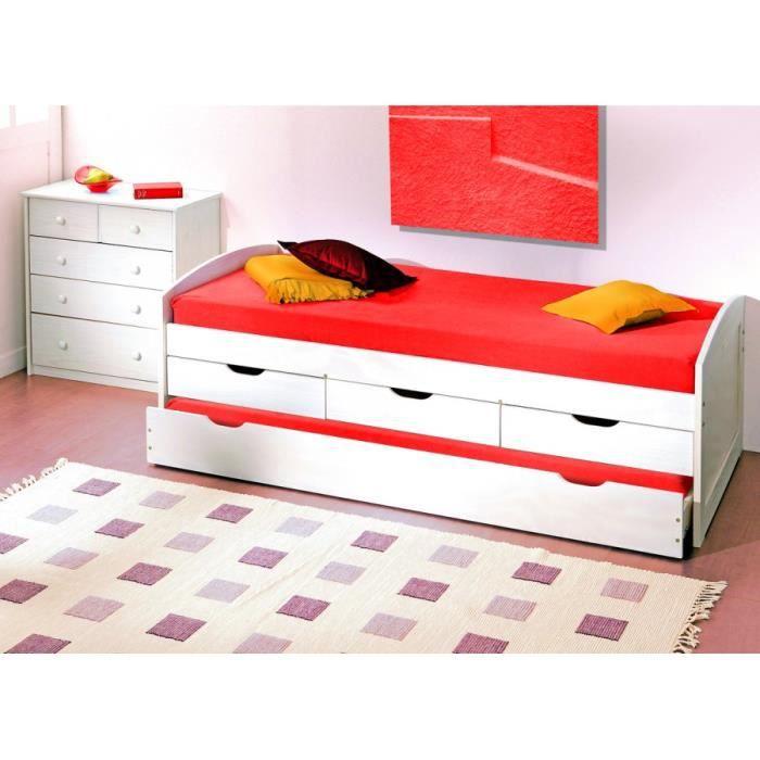 lit banquette 90 x 190 cm pin massif teint blanc 1 sommier 1 fond en panneau plein achat. Black Bedroom Furniture Sets. Home Design Ideas
