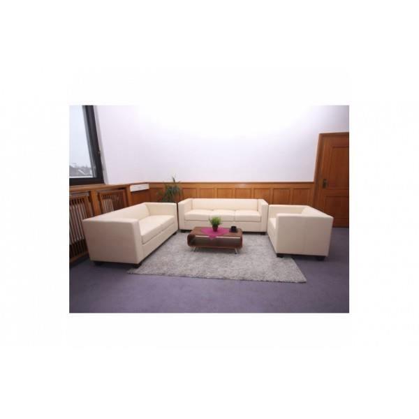 Ensemble canap salon lille cuir cr me achat vente canap sofa diva - Ensemble canape cuir ...