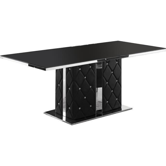 Table de salle manger capitonn e noir achat vente table a manger seule - Discount table a manger ...