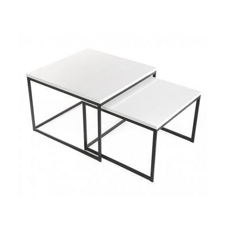 Set de 2 tables basses gigognes en bois blanc e achat vente table bass - Soldes tables basses ...