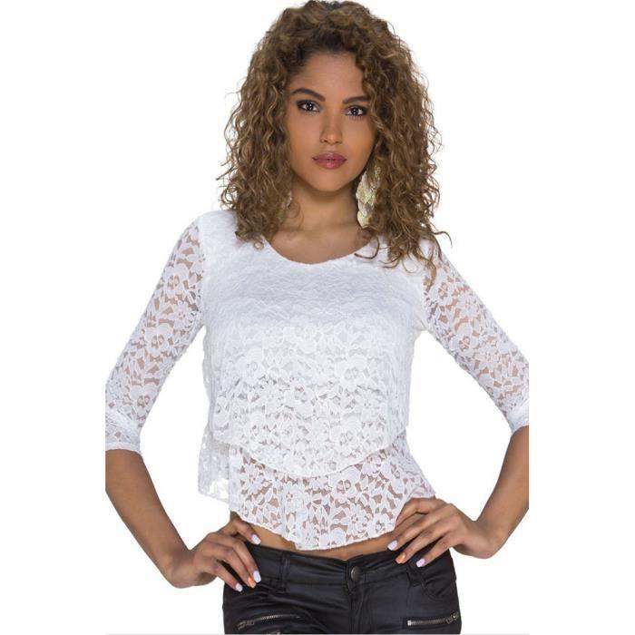haut blanc dentelle manches longues taille unique blanc achat vente t shirt 2009935704715. Black Bedroom Furniture Sets. Home Design Ideas