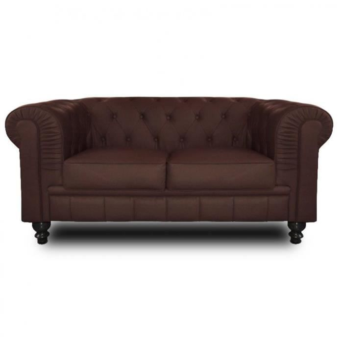 Canap chesterfield royal 2 places marron achat vente - Avis confort canape chesterfield ...