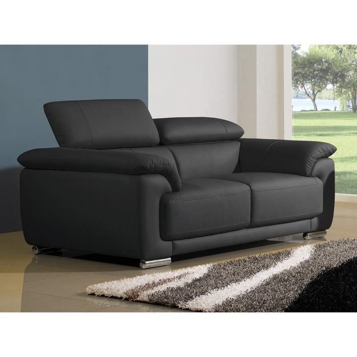 Canap cuir luxe 2 places marjorie noir achat vente canap sofa div - Canape deux places cuir ...