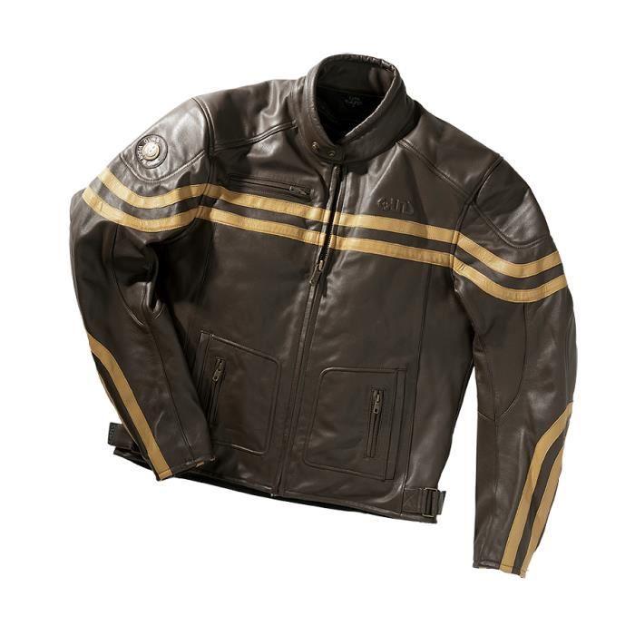 blouson moto cuir guns caf racer marron achat vente blouson veste blouson moto cuir guns. Black Bedroom Furniture Sets. Home Design Ideas