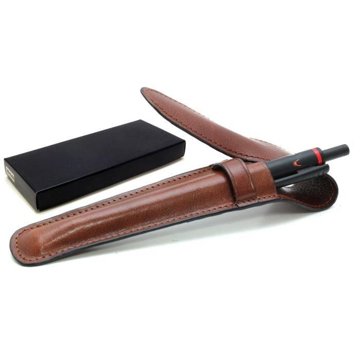 tui stylo en cuir homme femme marron marron marron achat vente trousse stylo. Black Bedroom Furniture Sets. Home Design Ideas