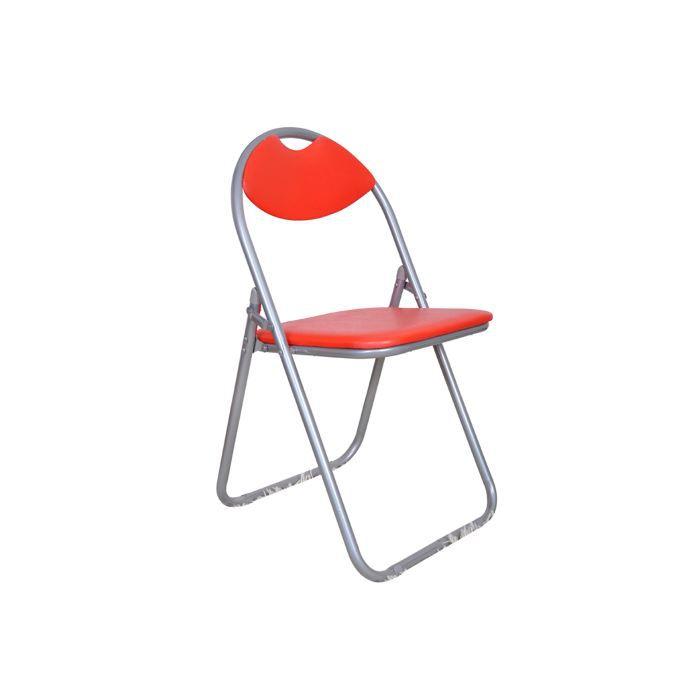 lot de 6 chaises pliantes de cuisine rouges cha achat vente chaise acier epoxy cdiscount. Black Bedroom Furniture Sets. Home Design Ideas