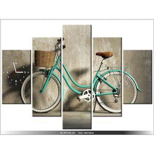 150 x105 cm velo retro horloge murale tableau moderne for Decoration murale velo