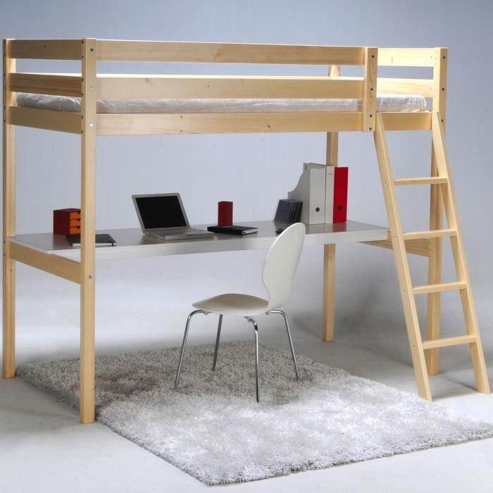 Aspen lit 90x190cm mezzanine avec bureau coloris naturel achat vente lit - Cdiscount lit mezzanine 2 places ...
