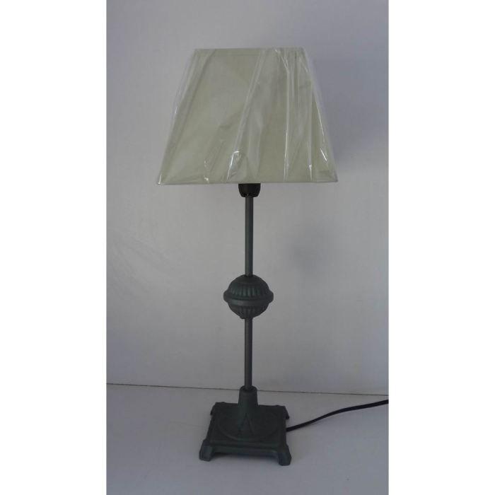 Lampe pied metal a l ancienne abat jour beige achat for Lampe de chevet ancienne