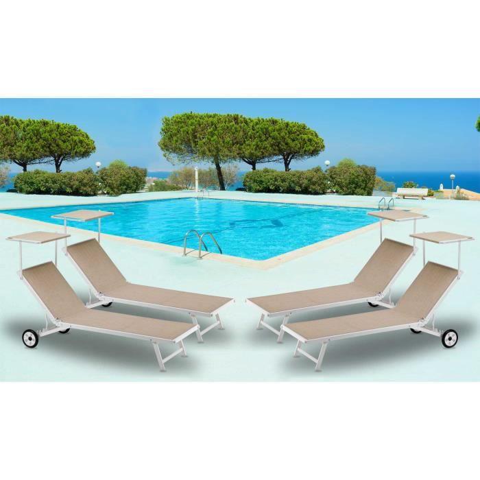 4 bains de soleil lits de plage avec roues transats piscine aluminium jardin alabama achat. Black Bedroom Furniture Sets. Home Design Ideas