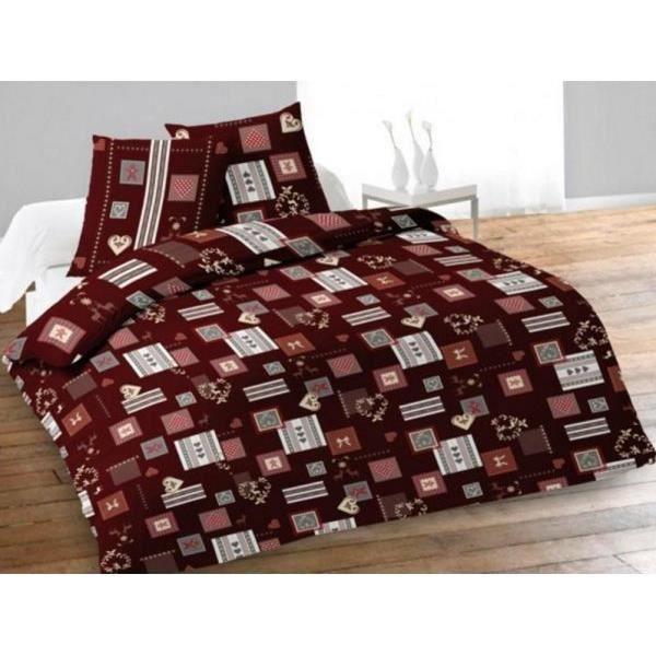 Housse de couette 220x240 cm flanelle alpage rouge et 2 taies d oreiller 63x63 cm achat - Housse couette flanelle 220x240 ...