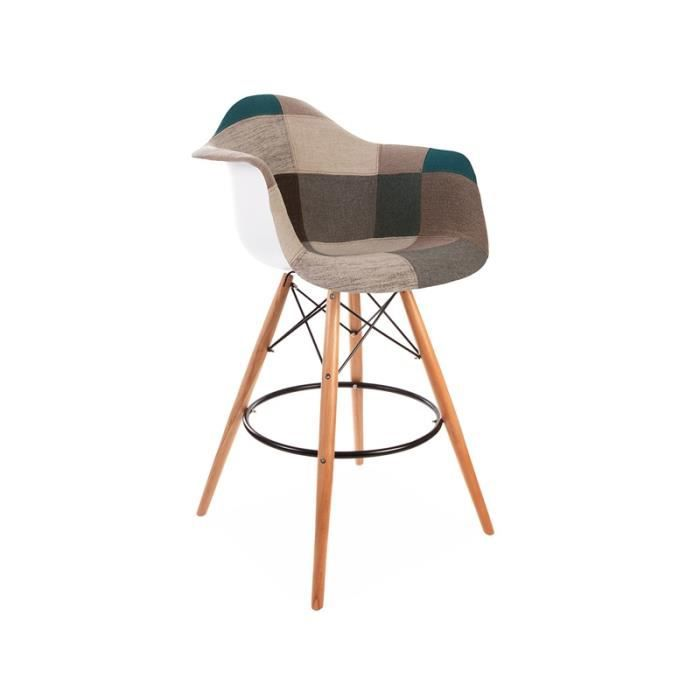 chaise de bar dab patchwork bleu achat vente chaise. Black Bedroom Furniture Sets. Home Design Ideas