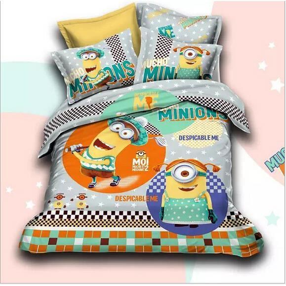 housse de couette bed linen minion caricature 3d 2 taies 003 achat vente parure de drap. Black Bedroom Furniture Sets. Home Design Ideas