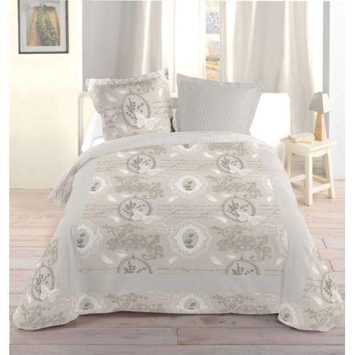couvre lit 220x240 cm dentelle ecru 100 coton achat. Black Bedroom Furniture Sets. Home Design Ideas