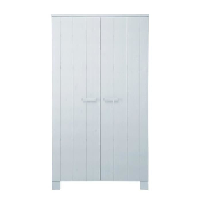 Armoire 2 portes en pin blanc bross lowie coul achat for Armoire blanche en pin