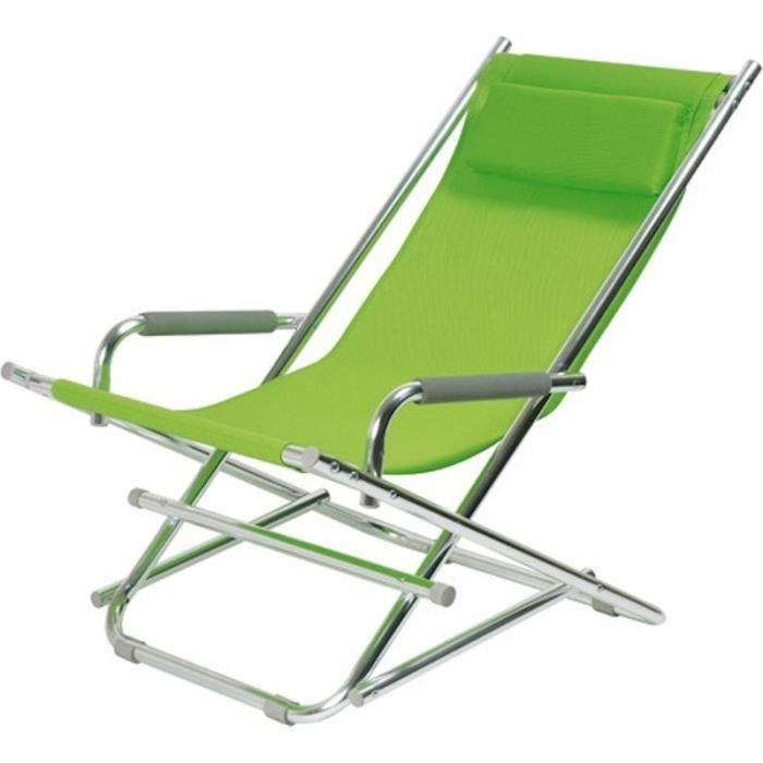 Chaise longue alu vert achat vente chaise longue for Chaise longue pliante legere