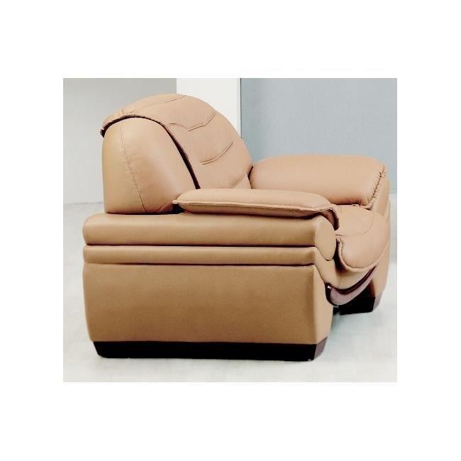 fauteuil 1 place en cuir italien benson achat vente fauteuil beige cdiscount. Black Bedroom Furniture Sets. Home Design Ideas