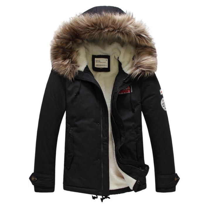 parka homme fourrure capuche doudoune homme hiver marque manteau veste homme hiver noir achat. Black Bedroom Furniture Sets. Home Design Ideas