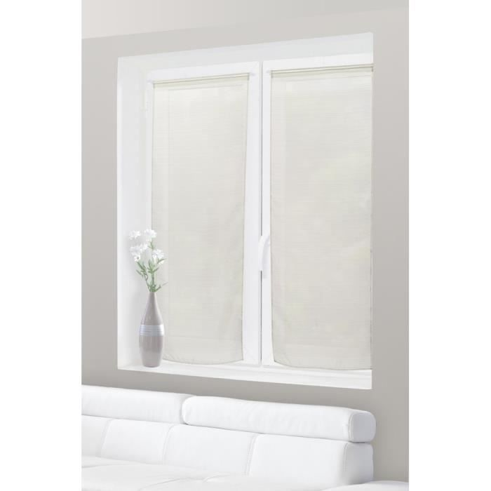 paire de voilage vitrage 60 x 160 cm rayures horizontales ivoire achat vente rideau cdiscount. Black Bedroom Furniture Sets. Home Design Ideas