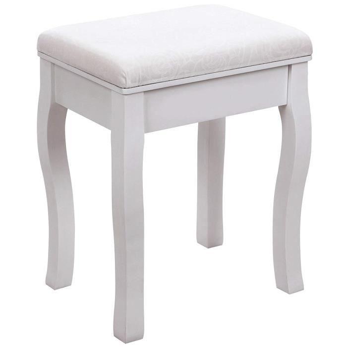 songmics rds50w tabouret pour coiffeuse en bois blanc avec coussin cr me achat vente. Black Bedroom Furniture Sets. Home Design Ideas