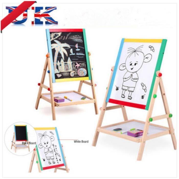 tableau double face noir blanc jouet pour enfant chevalet en bois achat vente tableau. Black Bedroom Furniture Sets. Home Design Ideas
