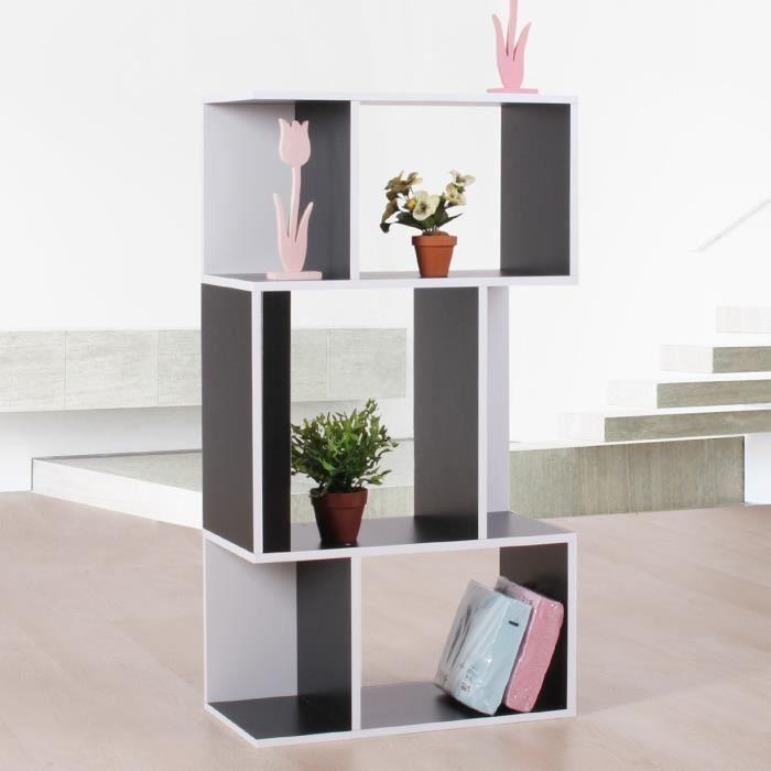 Etag re meuble de rangement 6 niches 59x30x109cm noir for Meuble niche murale