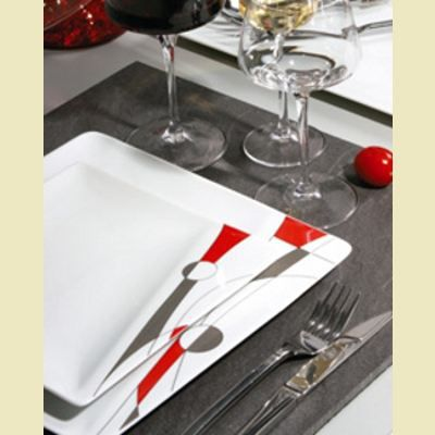 6 assiettes plates carr es d cor rouge et gris achat for Service de table solde
