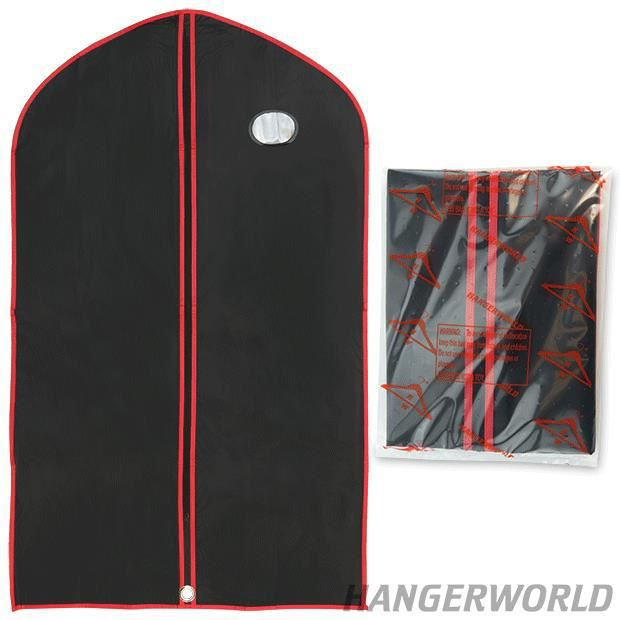 Housse protection v tements vinyle noir et rouge 100cm hangerworld achat vente housse de - Housse protection portant vetements ...