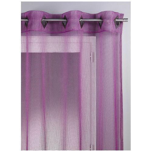 Rideau filet prune 140 x 260cm achat vente rideau polyester cdiscount for Rideau prune