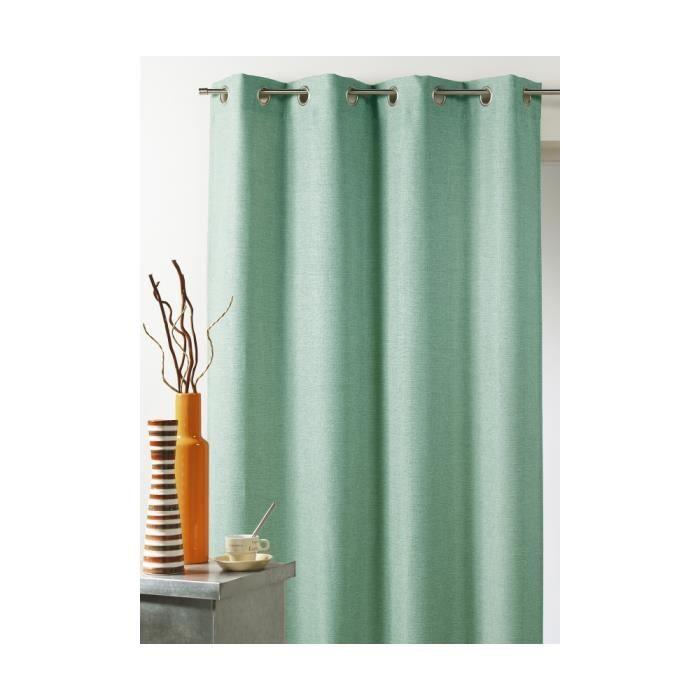 rideau d 39 ameublement uni effet naturel vert d 39 eau 140 x 260 cm achat vente rideau cdiscount. Black Bedroom Furniture Sets. Home Design Ideas