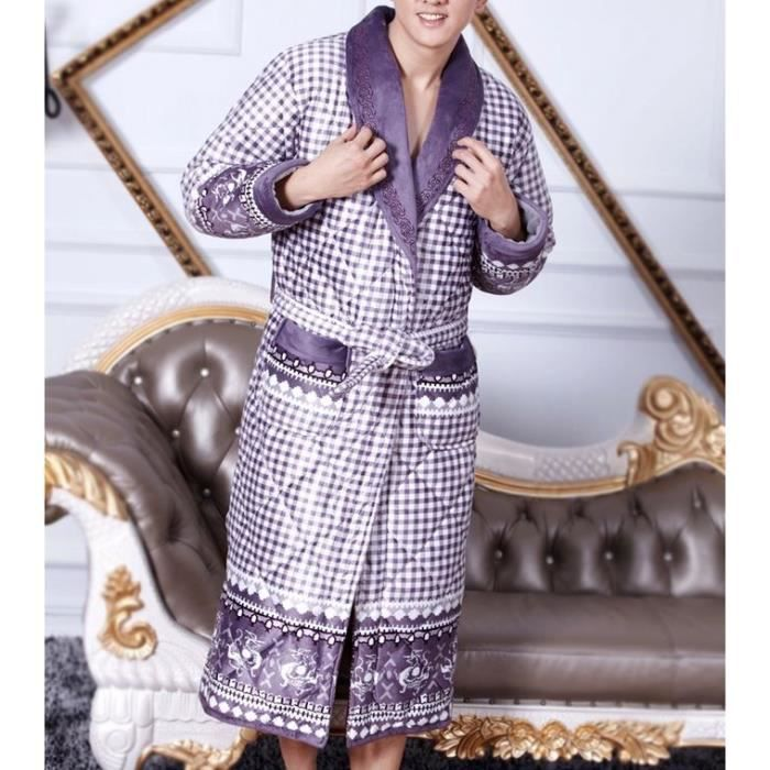 robe de chambre matelass e homme violette achat vente robe de chambre cdiscount. Black Bedroom Furniture Sets. Home Design Ideas