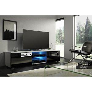 Meuble tv tenus blanc mat noir brillant avec led achat vente meuble tv - Meuble tv noir brillant ...