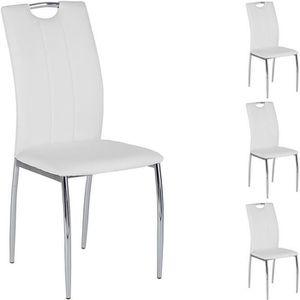 CHAISE Lot de 4 chaises APOLLO assise synthétique blanc