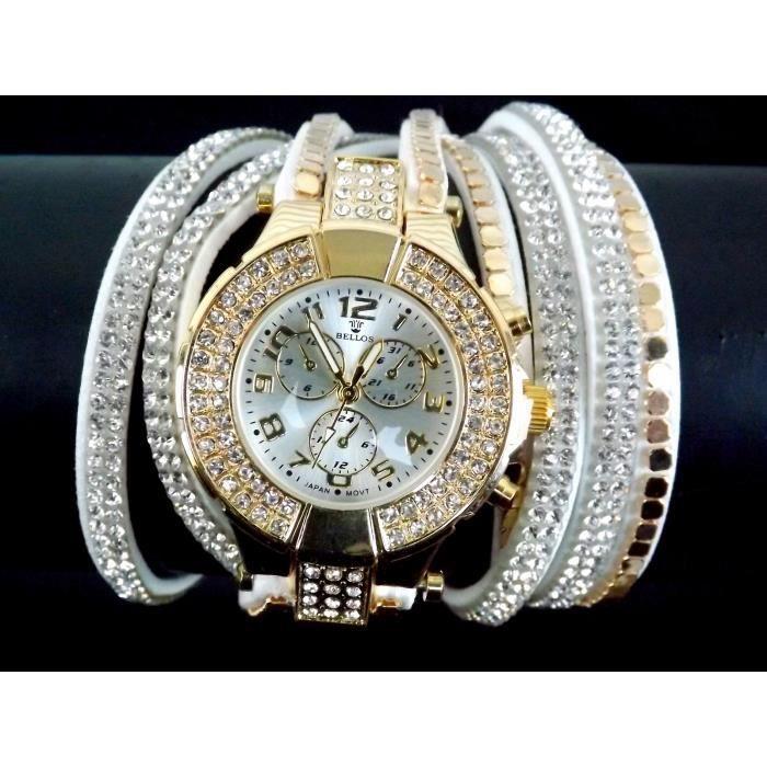 montre bracelet femme double tour cristal strass s achat vente montre femme adulte tissu. Black Bedroom Furniture Sets. Home Design Ideas
