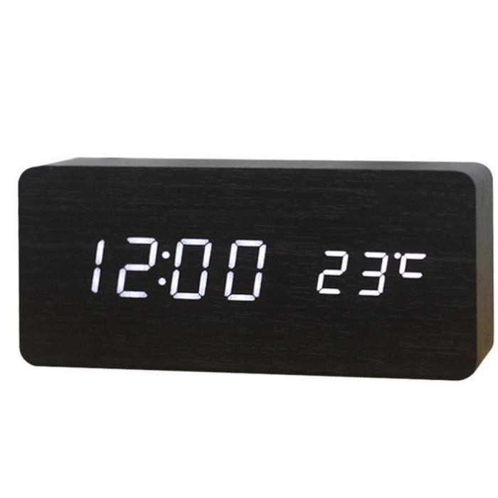 moderne horloges calendrier de r veil thermom tre en bois. Black Bedroom Furniture Sets. Home Design Ideas