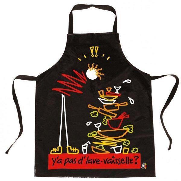 Tablier noir pvc y 39 a pas d 39 lave vaisselle achat - Tablier noir de cuisine ...