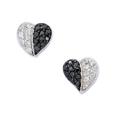 boucles d 39 oreilles coeur zircon noir blanc argent achat. Black Bedroom Furniture Sets. Home Design Ideas
